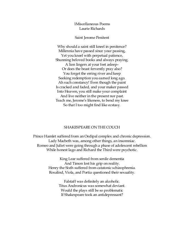 1Miscellaneous Poems Laurie Richards Saint Jerome Penitent Why should a saint still kneel in penitence? Millennia have pas...