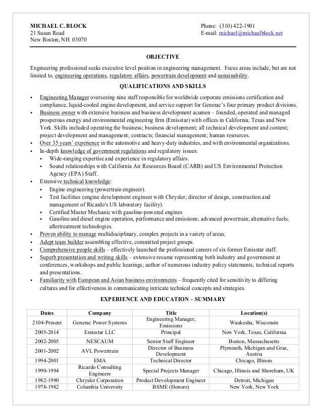 Michael Block Resume FULL July 4 2016