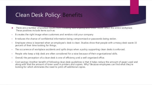 Clean Desk Policy Template The Gallery For Clean Desk Policy Template