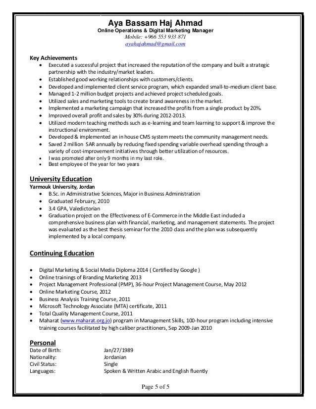 Developed Marketing And Online Tools For Advertising Resume
