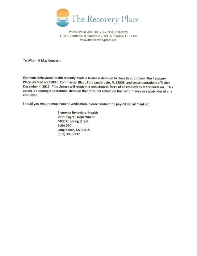 the recovery place closing letter