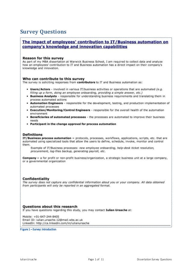 Employment dissertation questionnaire