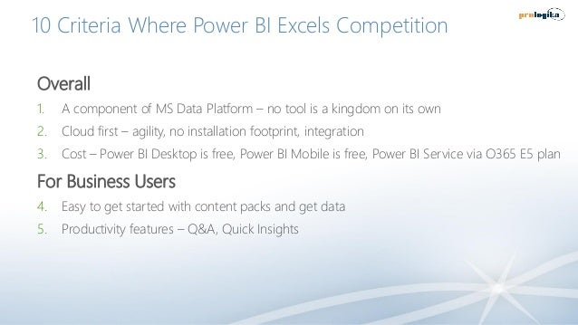10 Criteria Where Power BI Excels Competition Overall 1. A component of MS Data Platform – no tool is a kingdom on its own...