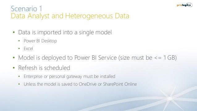 Scenario 1 Data Analyst and Heterogeneous Data • Data is imported into a single model • Power BI Desktop • Excel • Model i...