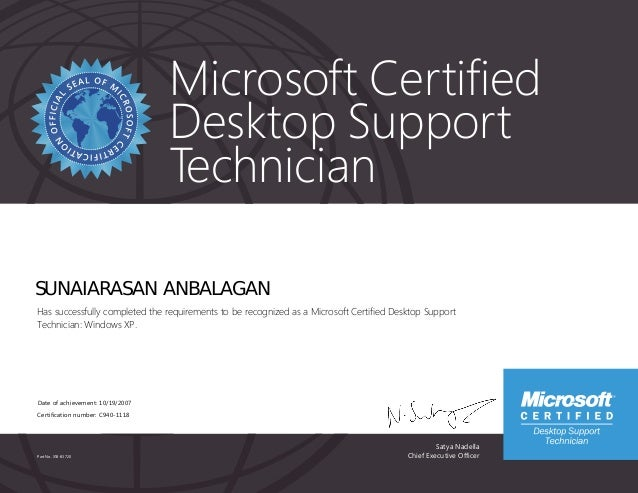 Desktop Support Technician >> Microsoft Certified Desktop Support Technician