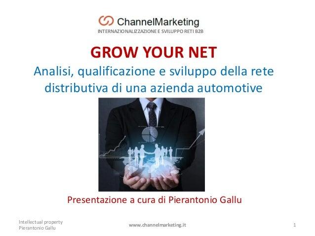 INTERNAZIONALIZZAZIONE E SVILUPPO RETI B2B GROW YOUR NET Analisi, qualificazione e sviluppo della rete distributiva di una...