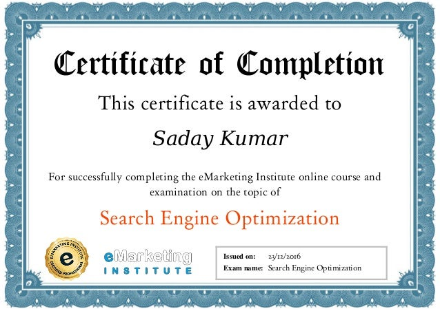 SEO Course and Certification-eMarketing Institute