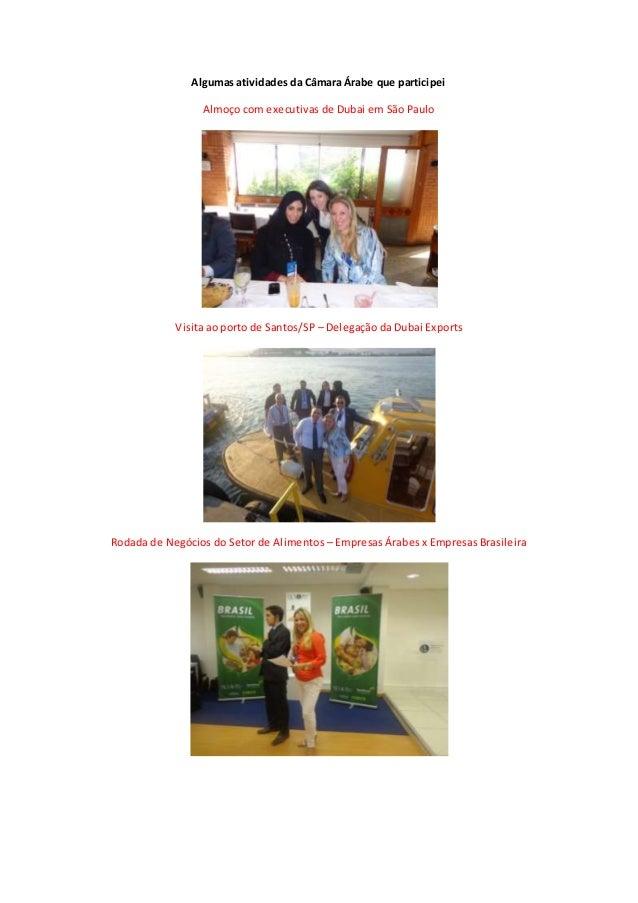 Algumas atividades da Câmara Árabe que participei Almoço com executivas de Dubai em São Paulo Visita ao porto de Santos/SP...