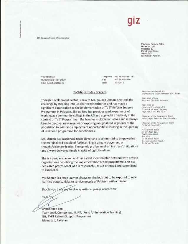 GIZ Supervisor Recommendation letter