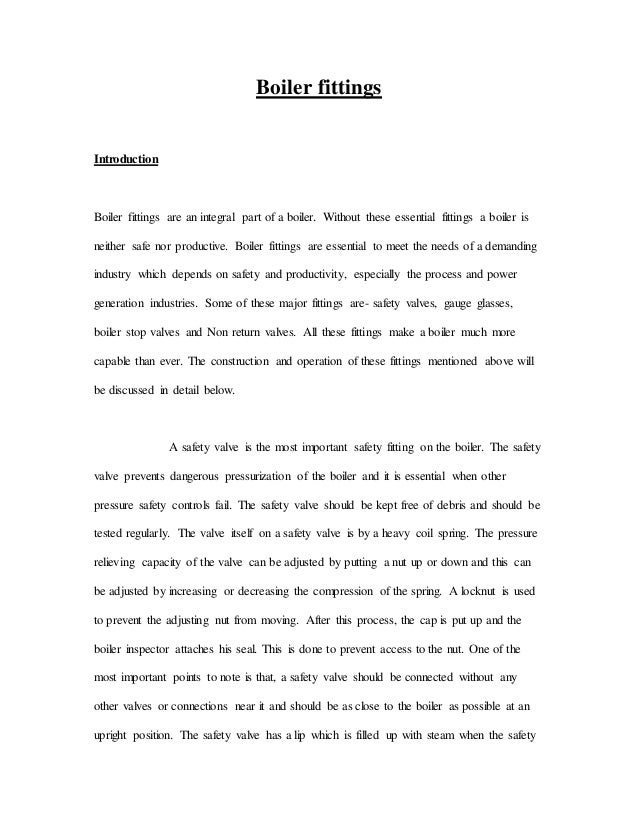 Boiler fitting essay