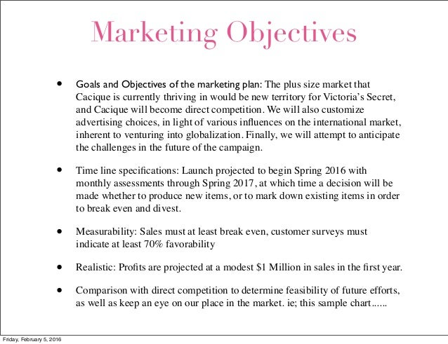 victoria s secret marketing objectives Swot analysis of victoria's secret adam august 20 henri bendel etc victoria's secret has adopted 24/7 marketing strategies both in stores and through web.