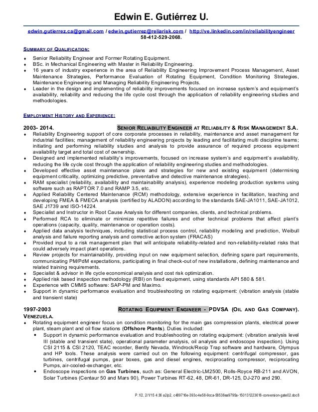 senior reliability engineer e gutierrez 2015 inter - Reliability Engineer Sample Resume
