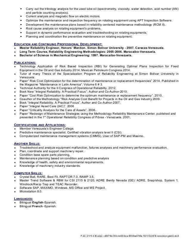 2 - Reliability Engineer Sample Resume