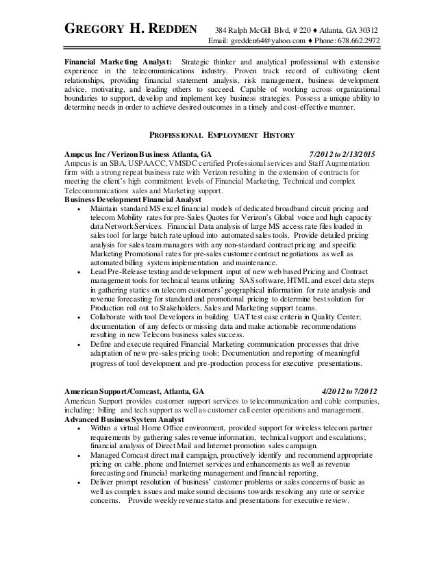 Gregory redden resume pricing and business analyst for Strategy analyst cover letter