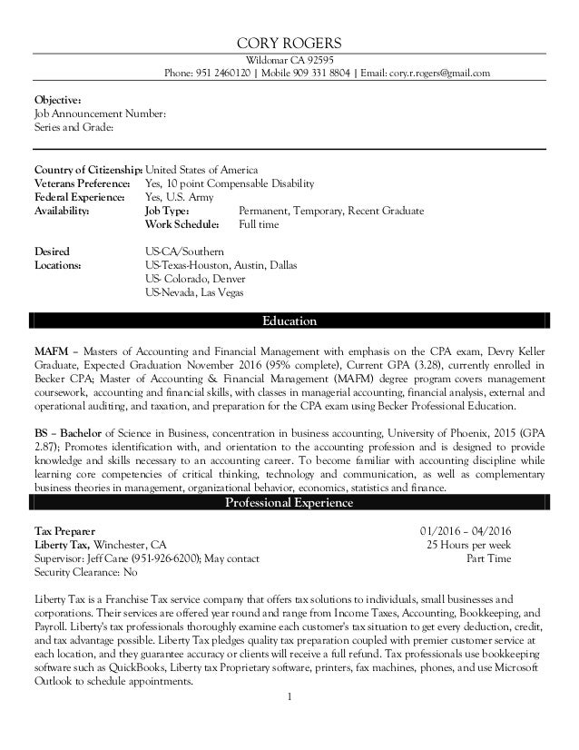 Federal Resume Accountant for Linkedin