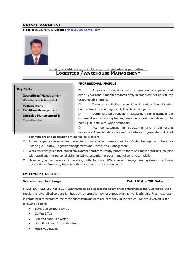 resume warehouse incharge prince varghese mobile 0552245494 email prince369606gmailcom seeking suitable assignment