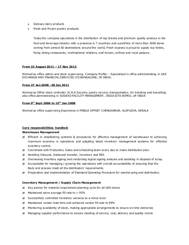 resume warehouse incharge - Resume For Warehouse