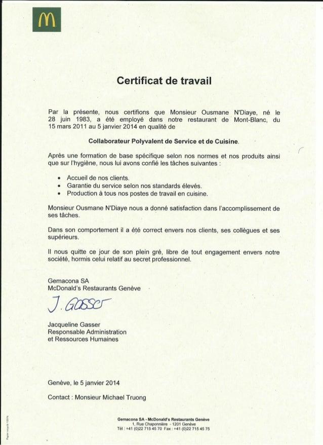 Certificat de travail restauration for Emploi restauration suisse