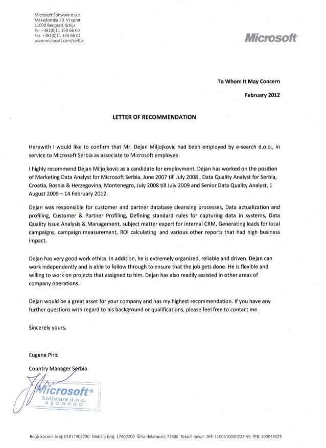 microsoft letter of recommendation eugenie piric