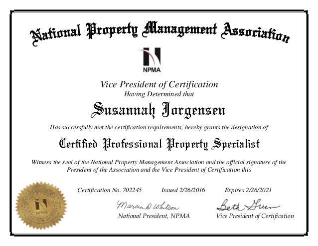 Susannah Jorgensen CPPS Certificate