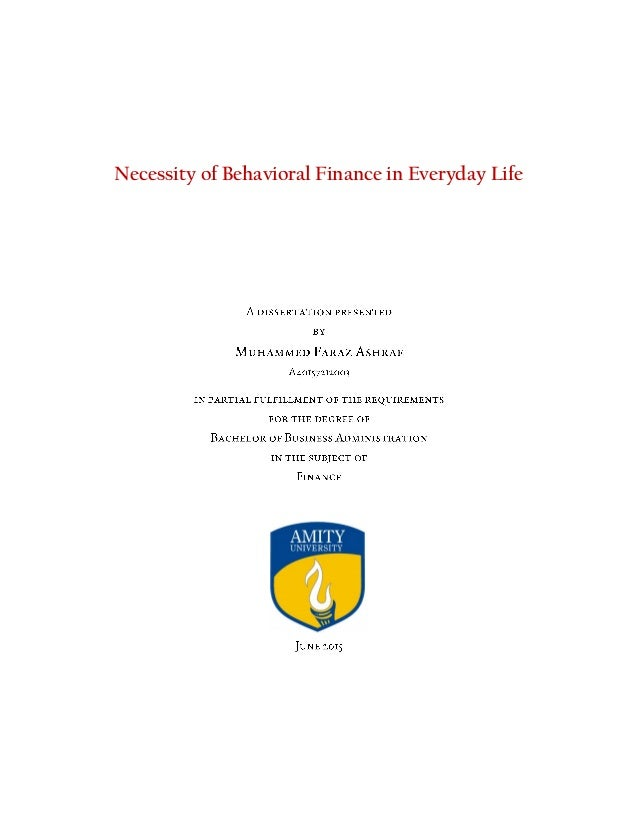 Behavioral finance phd thesis