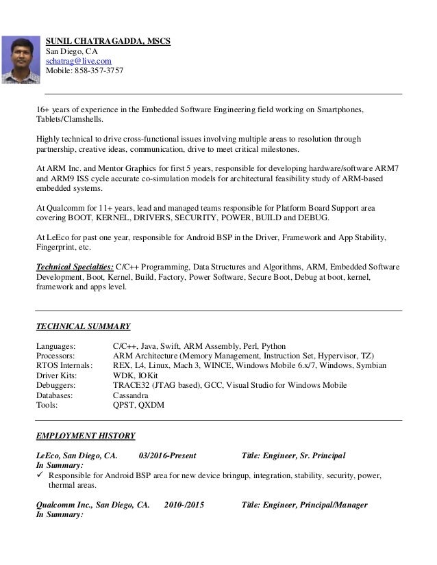 sle resume for experienced embedded engineer 28 images