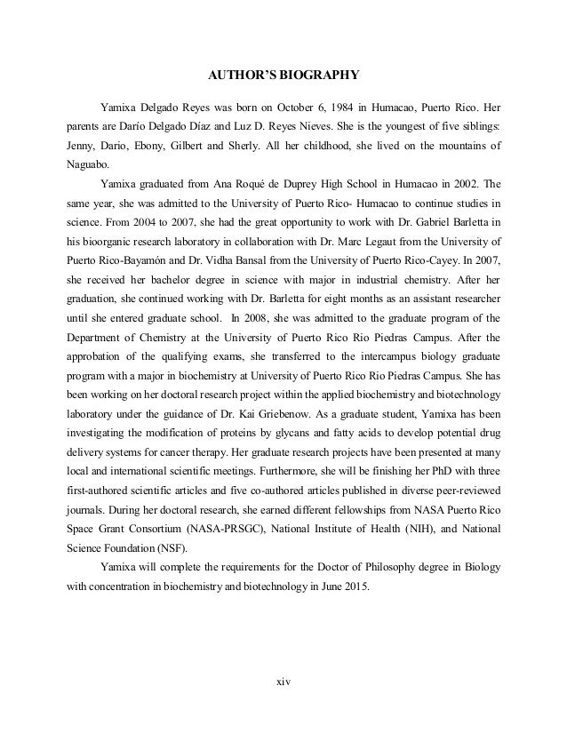 Phd thesis biography