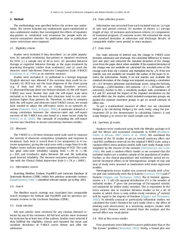 2. Method The methodology was specified before the review was under- taken. The review included any randomized, quasi-rando...