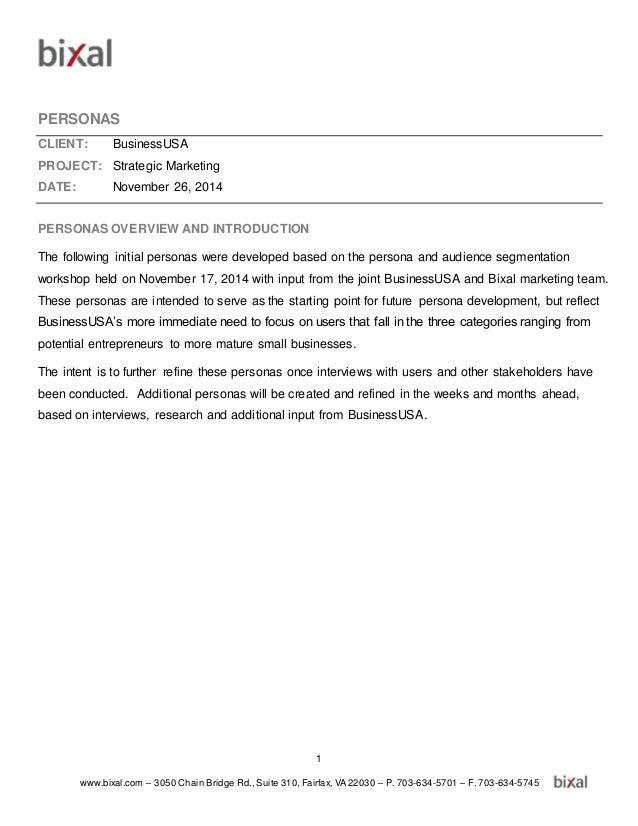 1 www.bixal.com – 3050 Chain Bridge Rd., Suite 310, Fairfax, VA 22030 – P. 703-634-5701 – F. 703-634-5745 PERSONAS CLIENT:...