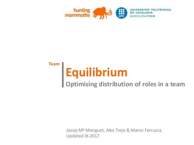 huntingmammoths Equilibrium Optimising distribution of roles in a team | Josep Mª Monguet, Alex Trejo & Marco Ferruzca. Up...