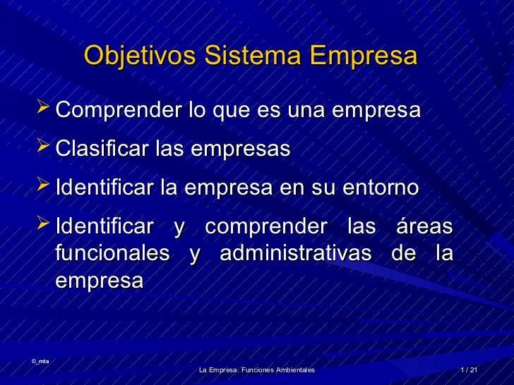 Objetivos Sistema Empresa  Comprender lo que es una empresa  Clasificar las empresas  Identificar la empresa en su ento...