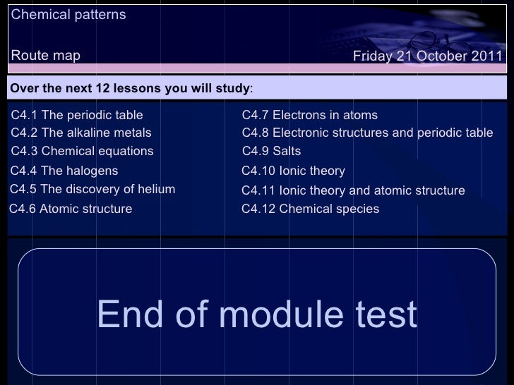 Chemical patterns Route map Over the next 12 lessons you will study : Friday 21 October 2011 C4.1 The periodic table C4.2 ...