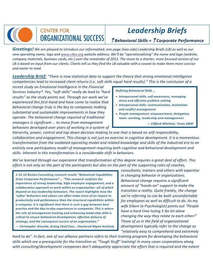 Leadership Briefs                                                                Behavioral Skills =  Corporate Performa...