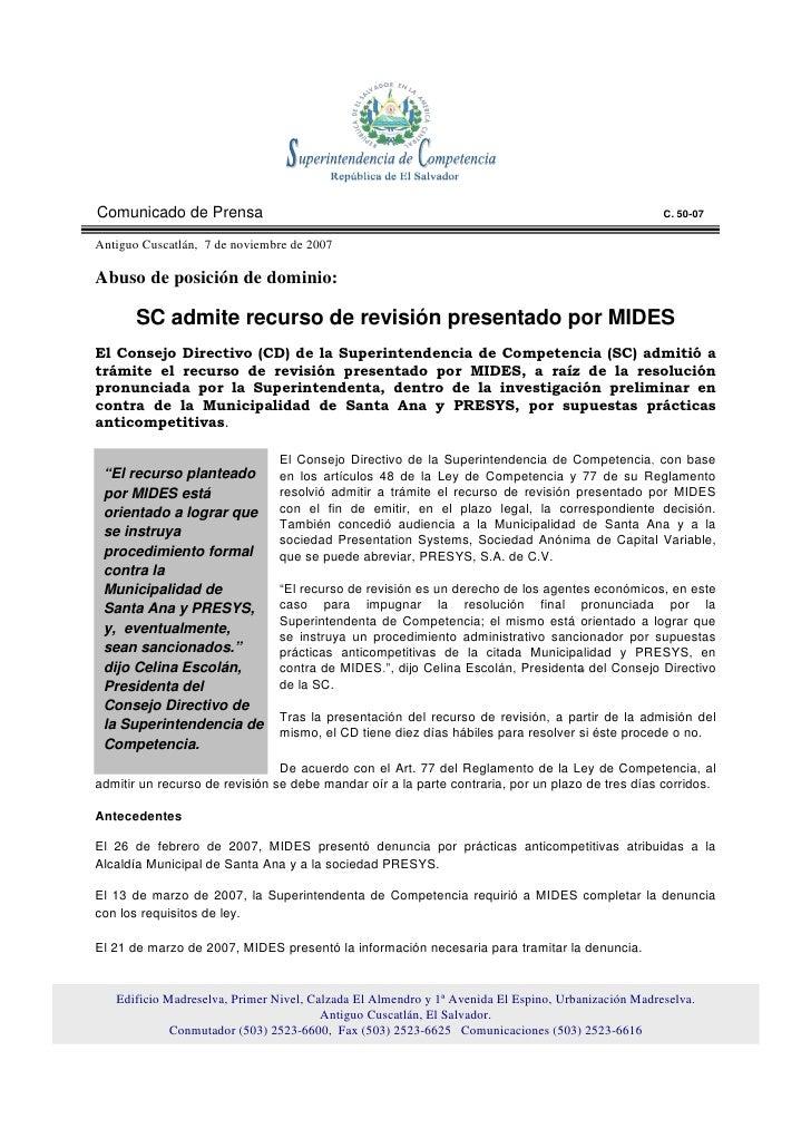 Comunicado de Prensa                                                                                C. 50-07  Antiguo Cusc...