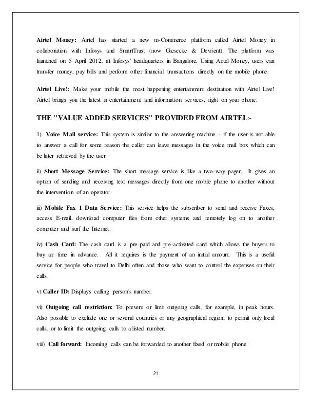 A project report on Airtel
