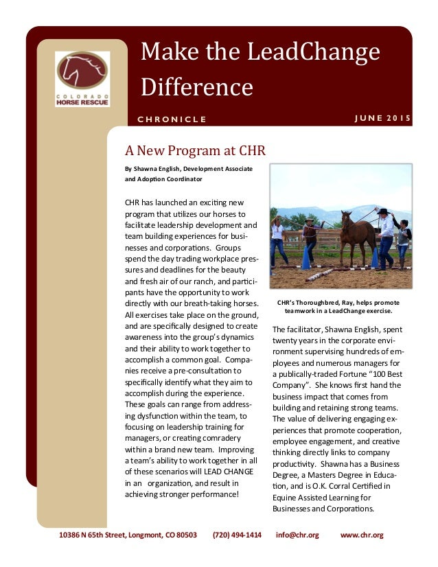 CHR has launched an exciting new program that utilizes our horses to facilitate leadership development and team building e...