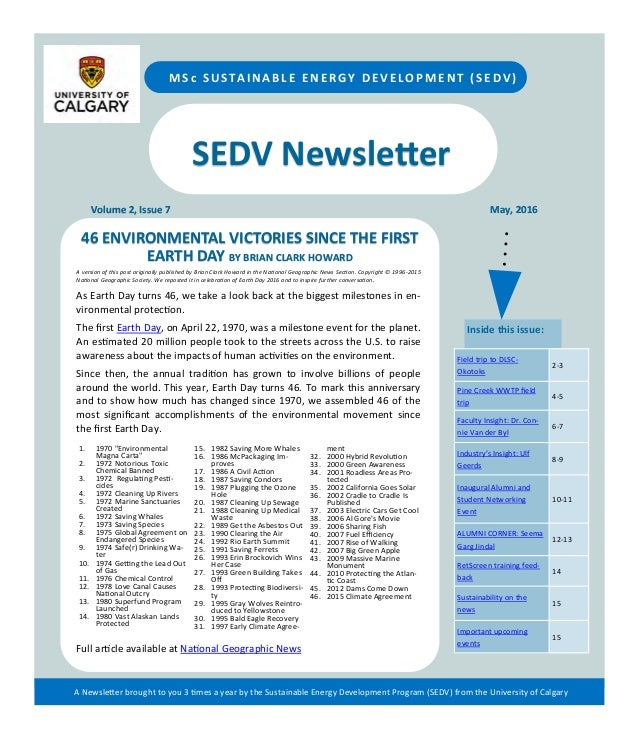 SEDV Newsletter Volume 2, Issue 7 May, 2016 MSc SUSTAINABLE ENERGY DEVELOPMENT (SEDV) 46 ENVIRONMENTAL VICTORIES SINCE THE...