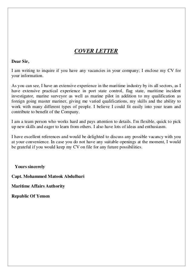 application letter maritime job