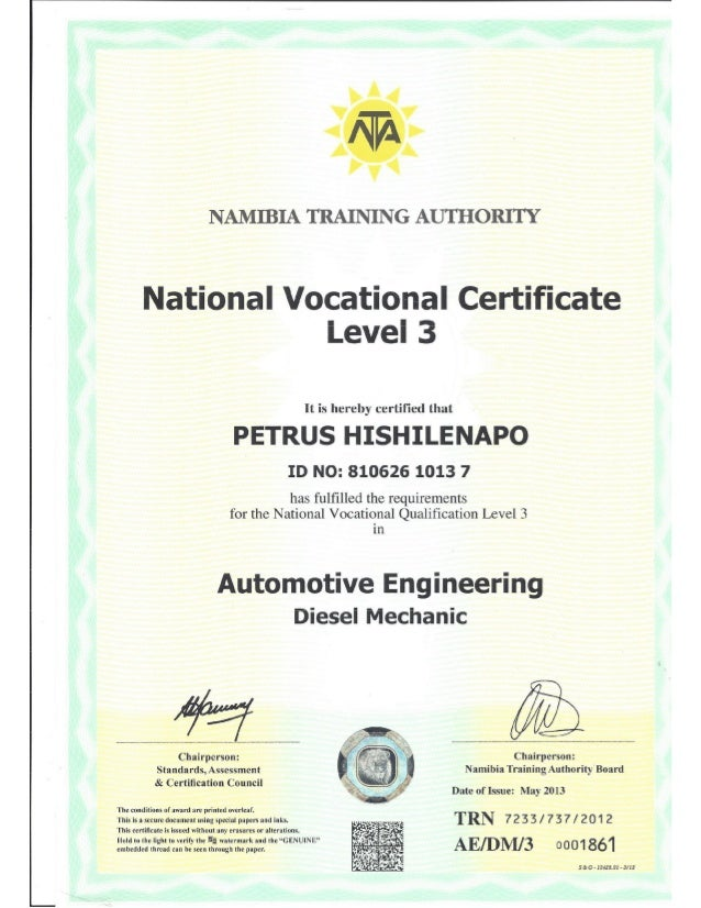 national vocational certificate