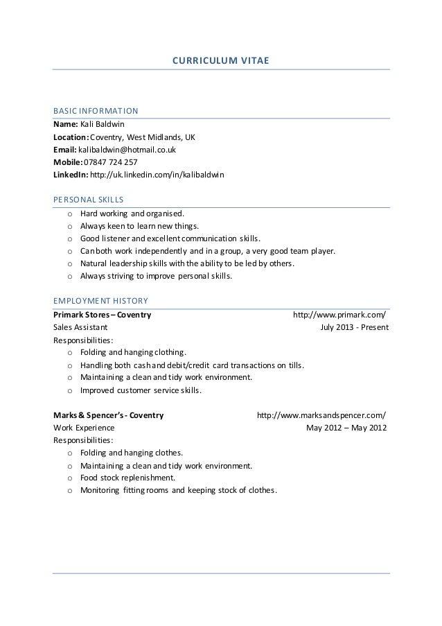 CV (applying for general jobs)