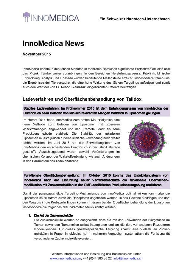 Ein Schweizer Nanotech-Unternehmen Weitere Informationen und Bestellung des Businessplans unter www.innomedica.com, +41 (0...