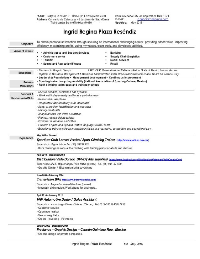 Resume Ingrid Plaza May 2015