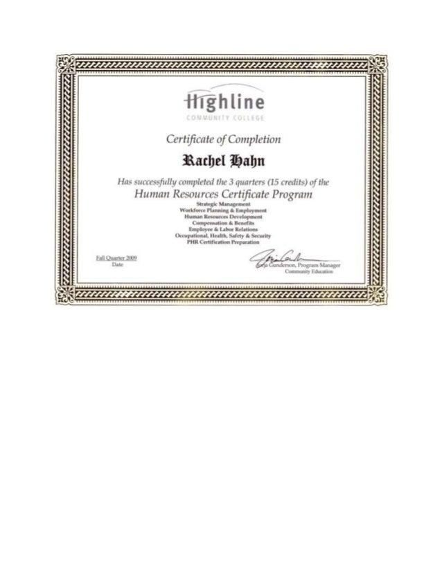 HR Certificate