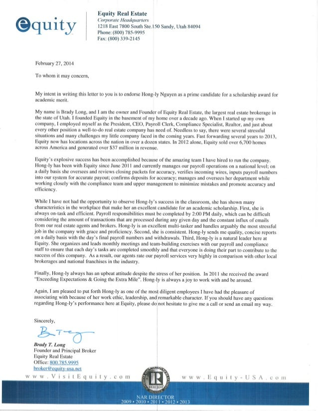 Recommendation Letter - Brady Long (Founder & Owner of Equity Real Es…