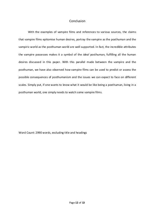 Vampire essay conclusion aqa english coursework grade boundaries 2009