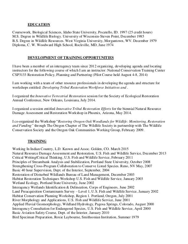 da ross resume july 2015 doi - Sample Wildlife Biologist Resume