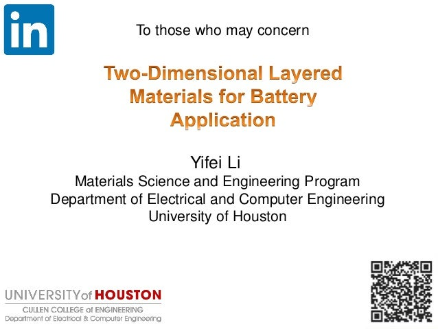 Yifei Li Materials Science and Engineering Program Department of Electrical and Computer Engineering University of Houston...