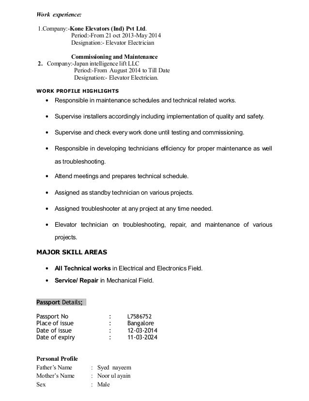 Elevator Mechanic Sample Resume] Elevator Mechanic Sample Resume ...