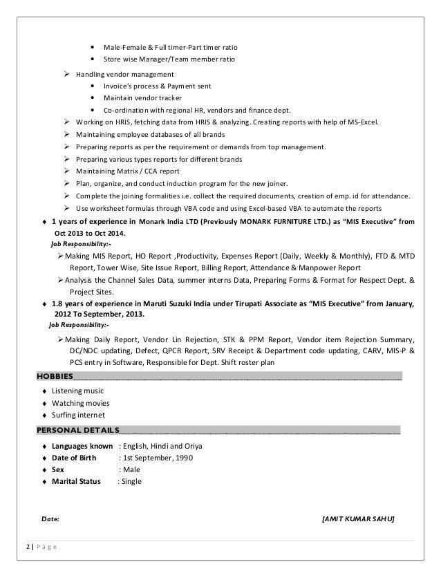 mis resume
