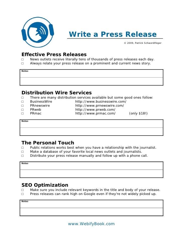 Write a Press Release                                                                  © 2009, Patrick Schwerdtfeger     E...
